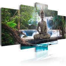 wohnzimmer xxl wandbilder xxl buddha wald wasserfall leinwand bilder wohnzimmer