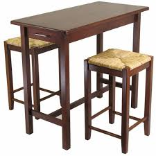 Breakfast Bar Table And Stools Winsome Wood 3 Piece Counter Height Pub Set With Rush Stools