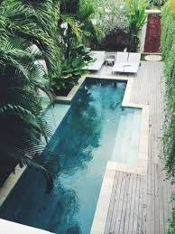 lap pool with tropical plants and lounge chairs outdoor pool