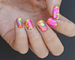 copycat claws color club poptastic neon water marble nail art