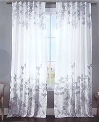 White And Grey Curtains Tahari Home Curtains Branches Road Pocket Curtains Cotton Drapes 2