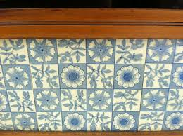 gorgeous antique marble top wash stand with blue tile backsplash