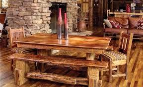 canapé cuir et bois rustique design interieur table bois massif brut rustique canapé cuir