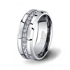 beveled engagement ring mens wedding band high end tungsten ring stacked cz diamonds 8mm