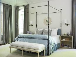 Metal Canopy Bed Frame Bedroom Exciting Metal Canopy Bed With Blue Bed Skirt And Bedding