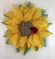 Sunflower Mesh Wreath Sunflower Wreath Poly Burlap Deco Mesh Wreath Beautiful