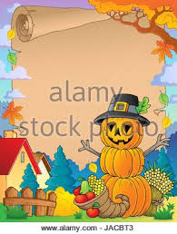thanksgiving theme parchment 4 picture illustration stock photo