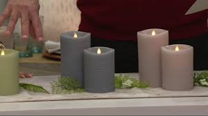 luminara 5 and 7 honeycomb embossed flameless candles on qvc