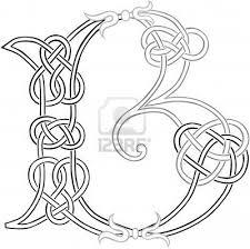 a celtic knot work capital letter b stylized outline celtic