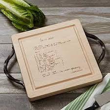 cutting board with recipe engraved handwritten recipe engraved cutting board with handles gifts