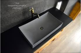 700mm grey basalt stone wash bathroom basin concrete look toji