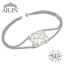 sterling silver monogram bracelet sterling silver monogram bracelet with chain monogram
