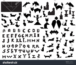 black vector tangram halloween silhouettes collection stock vector