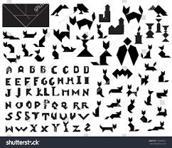 halloween silhouette vector black vector tangram halloween silhouettes collection stock vector