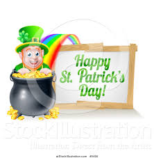 vector illustration of a leprechaun with a pot of gold at the end