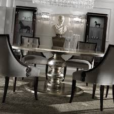 Large Round Italian Champagne Leaf Dining Table And Chairs Set - Large round kitchen table
