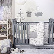 Gray Baby Crib Bedding Grey Cloud And Geometric Patch 4 Baby Crib