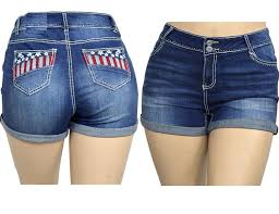 American Flag Plus Size Shorts Jeans For Love Jack David Womens Plus Size Blue White Denim Jean