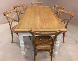 OAK AND PINE TABLE COUNTRY FARMHOUSE KITCHEN DINING TABLE PAINTED BASE - Farmhouse kitchen table with drawers