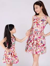 chic dress chic printing ruched flowers girl matching dress with free