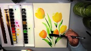 mijello mission gold watercolor abstract tulips youtube