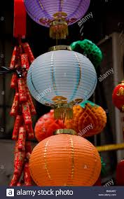 new year lanterns for sale on the day before new year in hong kong china the markets