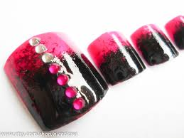 ombre fake nails for toes fade black to pink with rhinestones