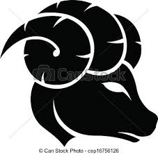 illustration of black aries zodiac sign isolated on a