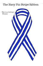 blue and white striped ribbon white and navy stripe awareness ribbon lou gehrig s disease