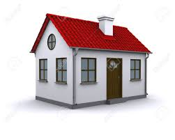 a small house with red roof on a white background stock photo