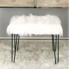 cajsa faux fur stool u0026 reviews birch lane