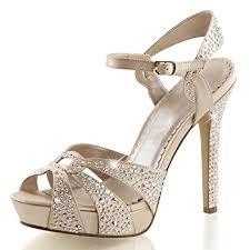 Rhinestone Sandal Heels Amazon Com Womens Champagne High Heels Peep Toe Sandals