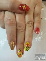 disney princess beauty and the beast freehand nail art manicure
