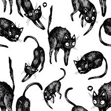 repeating background halloween cat pattern by thit hansgaard art pinterest doodle patterns