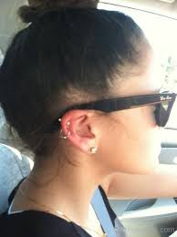hoop cartilage piercing cartilage piercing with hoop and stud