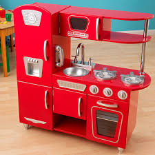 perfect wooden kitchen play sets design with burnt orange and