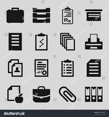 Resume Printer Document Icons Set Set 16 Document Stock Vector 659698288