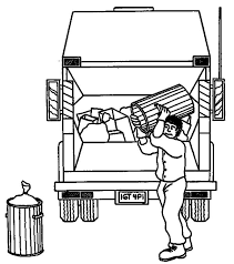 garbage man carrying waste truck coloring pages download