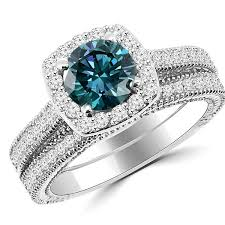 blue wedding rings 1 77ct blue halo engagement ring wedding band set