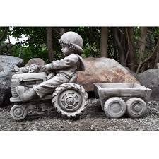 boy on tractor cast garden ornament flower pot planter