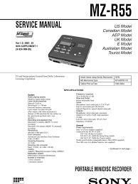sony mz r55 service manual amplifier analog to digital converter