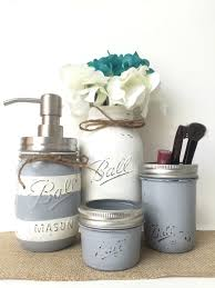 gray mason jar bathroom set striped soap dispenser white vase