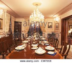 large dining room with chandelier in st emmeram castle in
