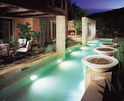 lighted pool fountain with rain curtain pool contemporary and