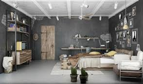 apartment industrial bedroom apartment design with dark gray