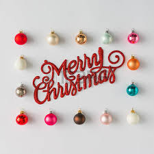colorful baubles decoration with merry sign