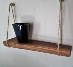 natural wood shelf hanging shelf live edge shelf walnut