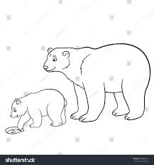coloring pages mother polar bear her stock vector 469820519