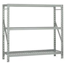 Lowes Metal Shelving Furniture Bulk Storage Rack 3 Shelf Shelving Unit In Gray By