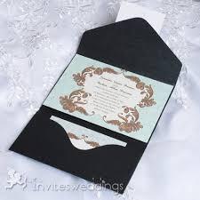 wedding invitation pocket envelopes mint green vintage floral pocket wedding invitations iwps091